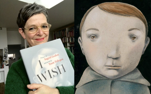 Portrait of a woman holding a book, while standing next to a blow up image of an illustration of a child