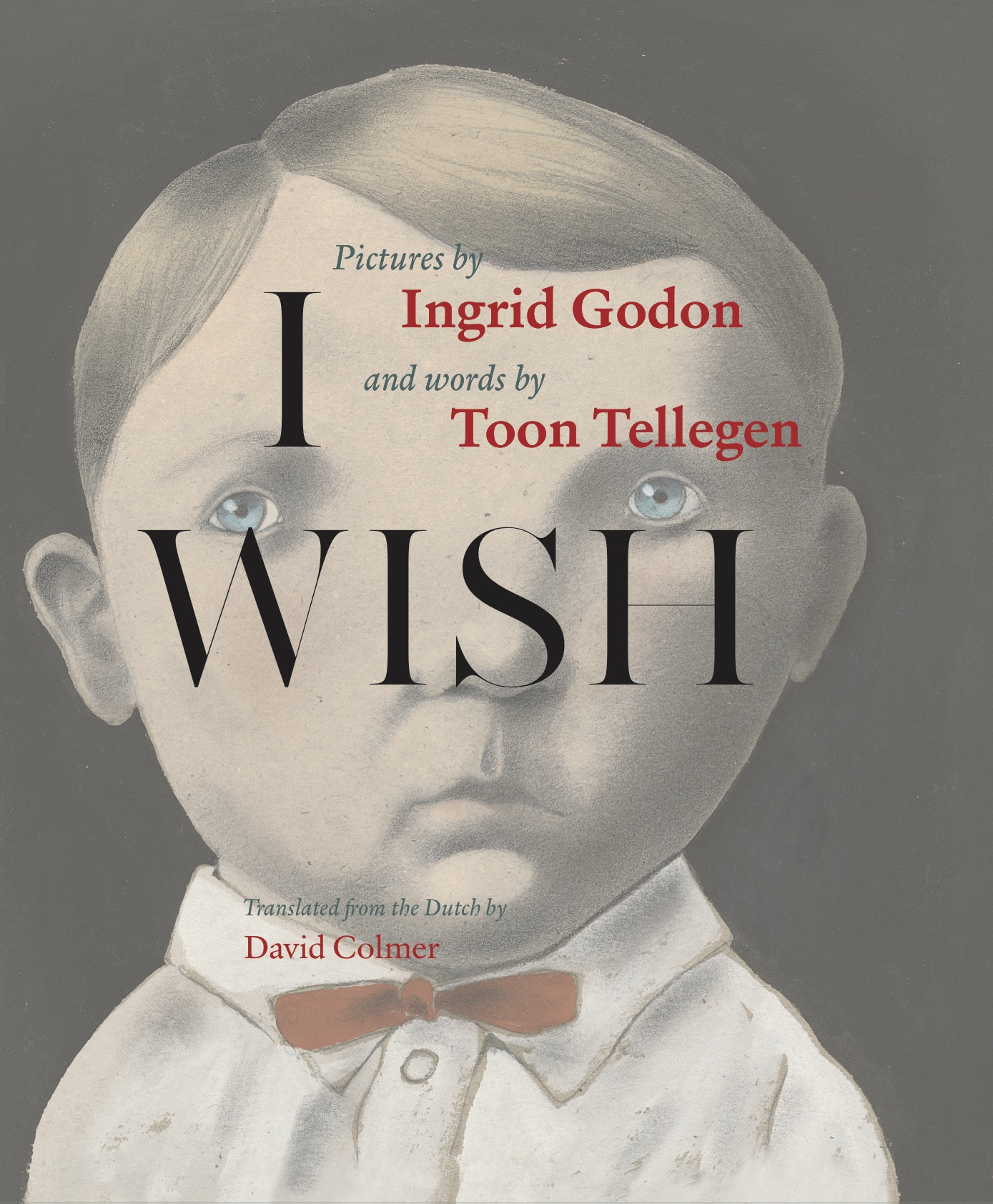 Book cover, showing a naive drawing of a young boy with a white shirt and a red bow tie, with superscript text that reads in large letters