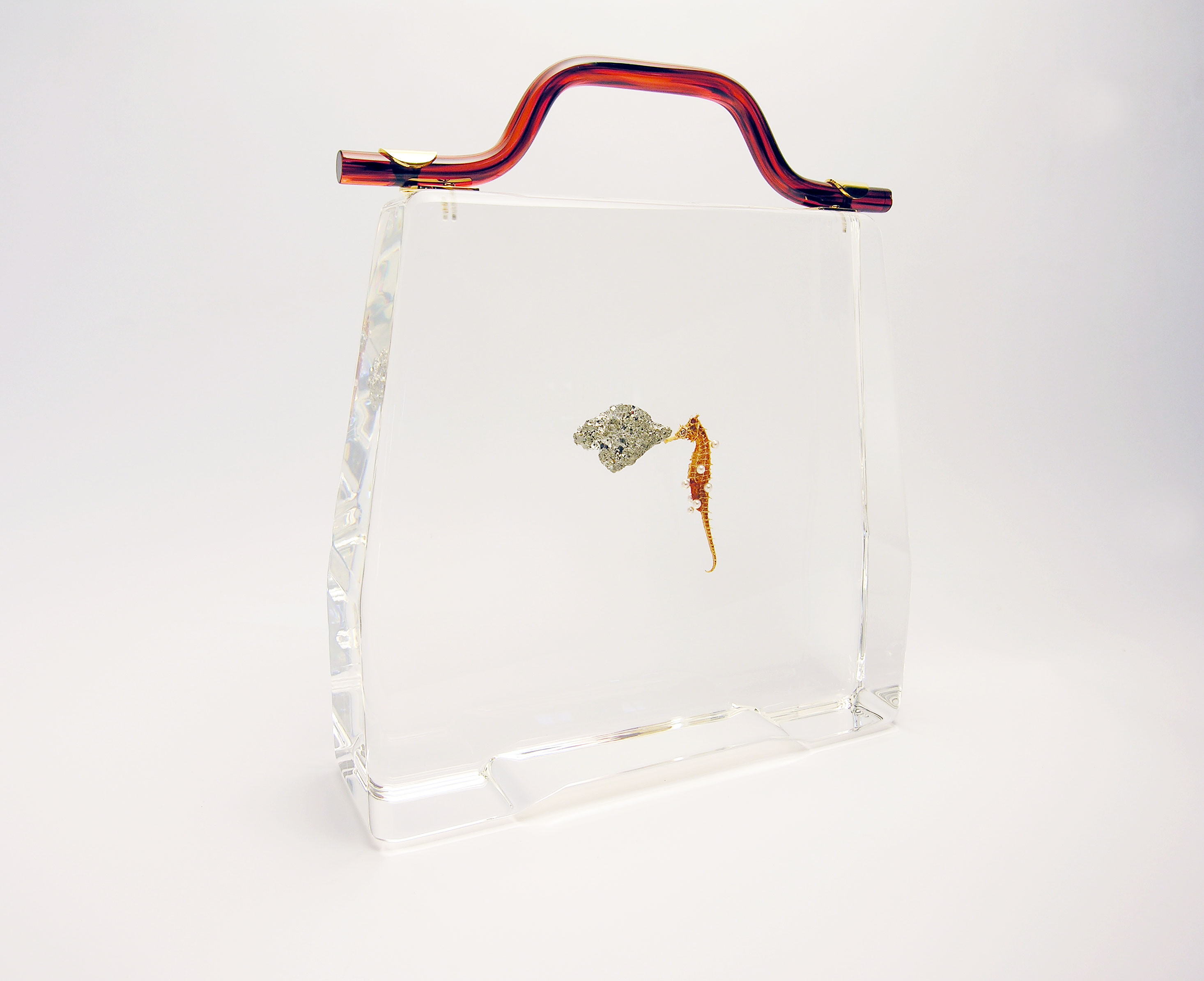 Seahorse Bag, 2017, sea horse, pearls, pyrite cast in acrylic, found handle 24K gold plated, 12 x 10.25 x 3.25 inches