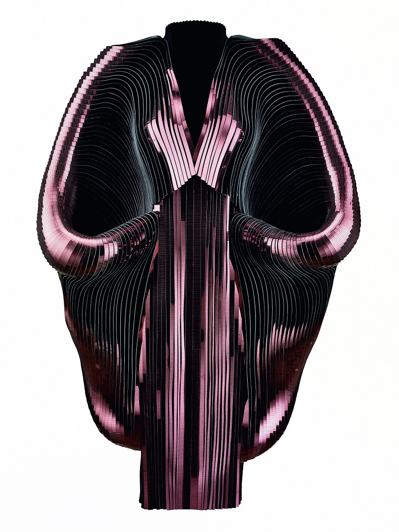 Iris van Herpen (Dutch, born 1984), Hybrid Holism, Dress, July 2012. Metallic coated stripes, tulle, cotton. Collection of the designer. Photo by Bart Oomes, No 6 Studios. © Iris van Herpen.