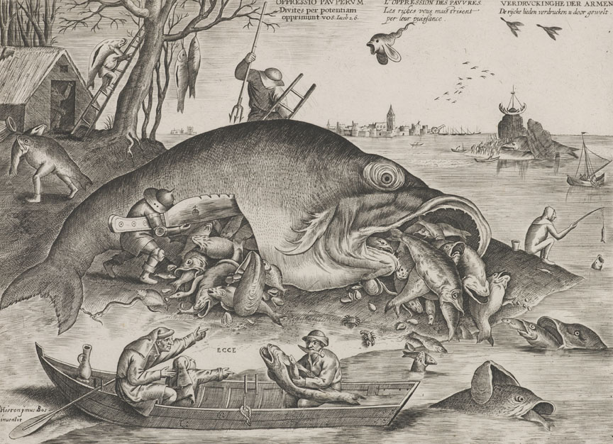 Pieter van der Heyden (b. Antwerp, c. 1530–d. after March 1572, Berchem) after Pieter Bruegel the Elder (b. c. 1525/30–d. 1569, Brussels); Big Fish Eat Little Fish, 1557; engraving, i/iv; image: 9 1/16 × 11 13/16 inches; published by Hieronymus Cock, Antwerp; Private collection