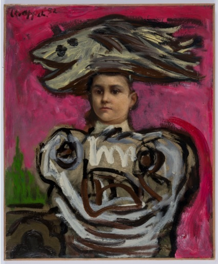 Karel Appel, Girl with Fish Hat, 1952, Oil on existing painting, © 2015 Karel Appel Foundation, Artists Rights Society (ARS), New York, c.o Pictoright Amsterdam.