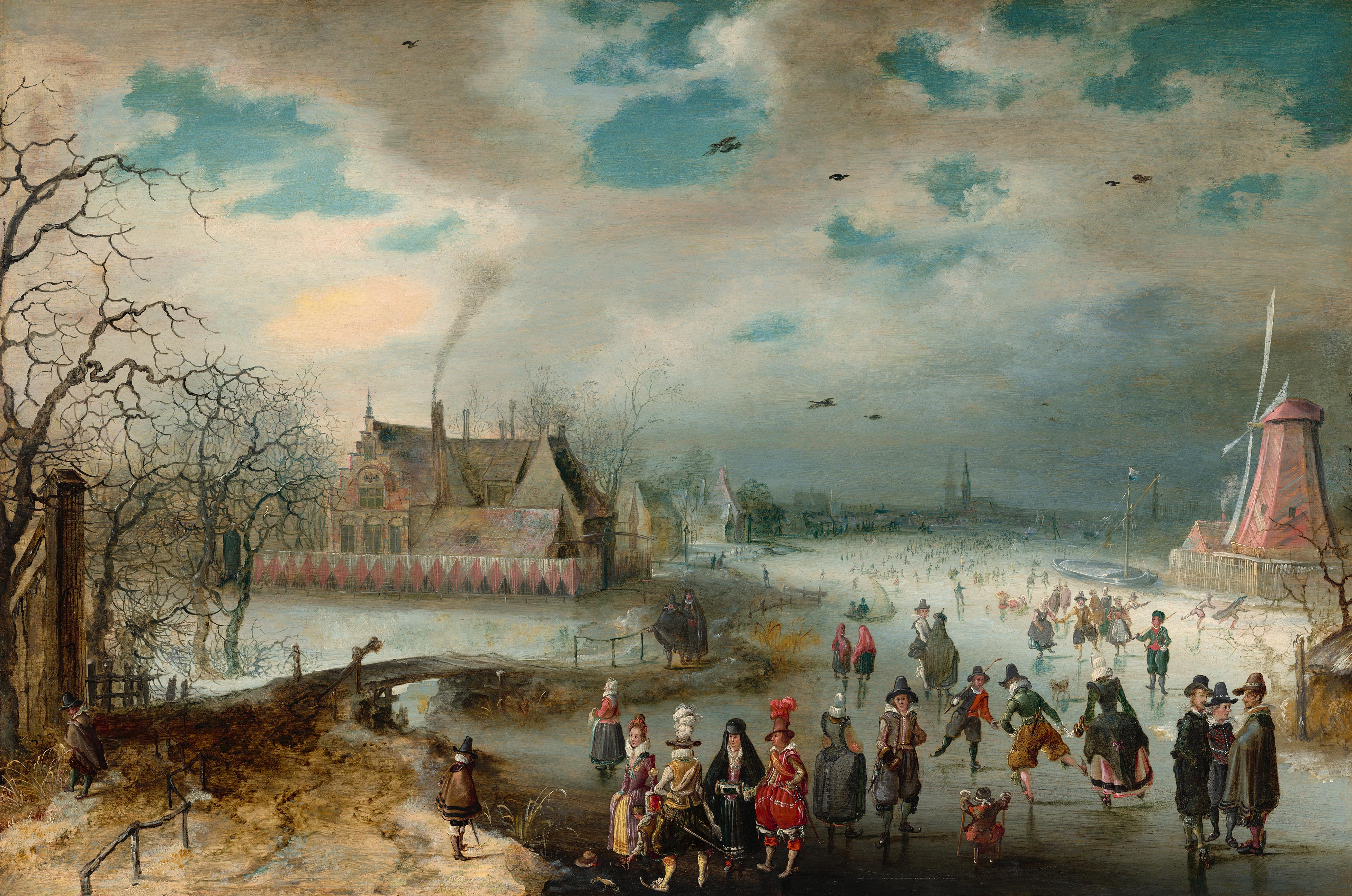 Adam van Breen, Skating on the Frozen Amstel River, 1611