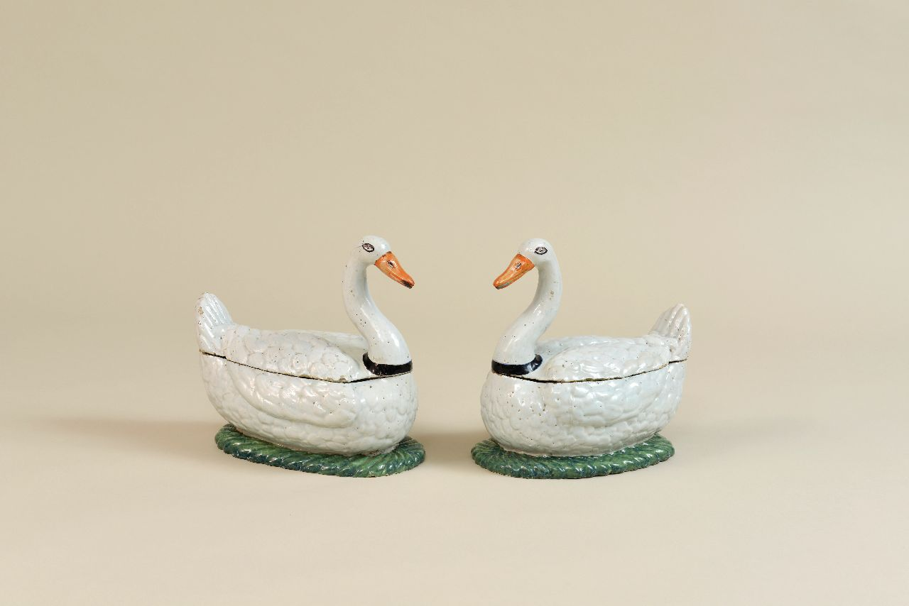 Pair of Polychrome Swan Tureens and Covers - Part of the Aronson Exhibition