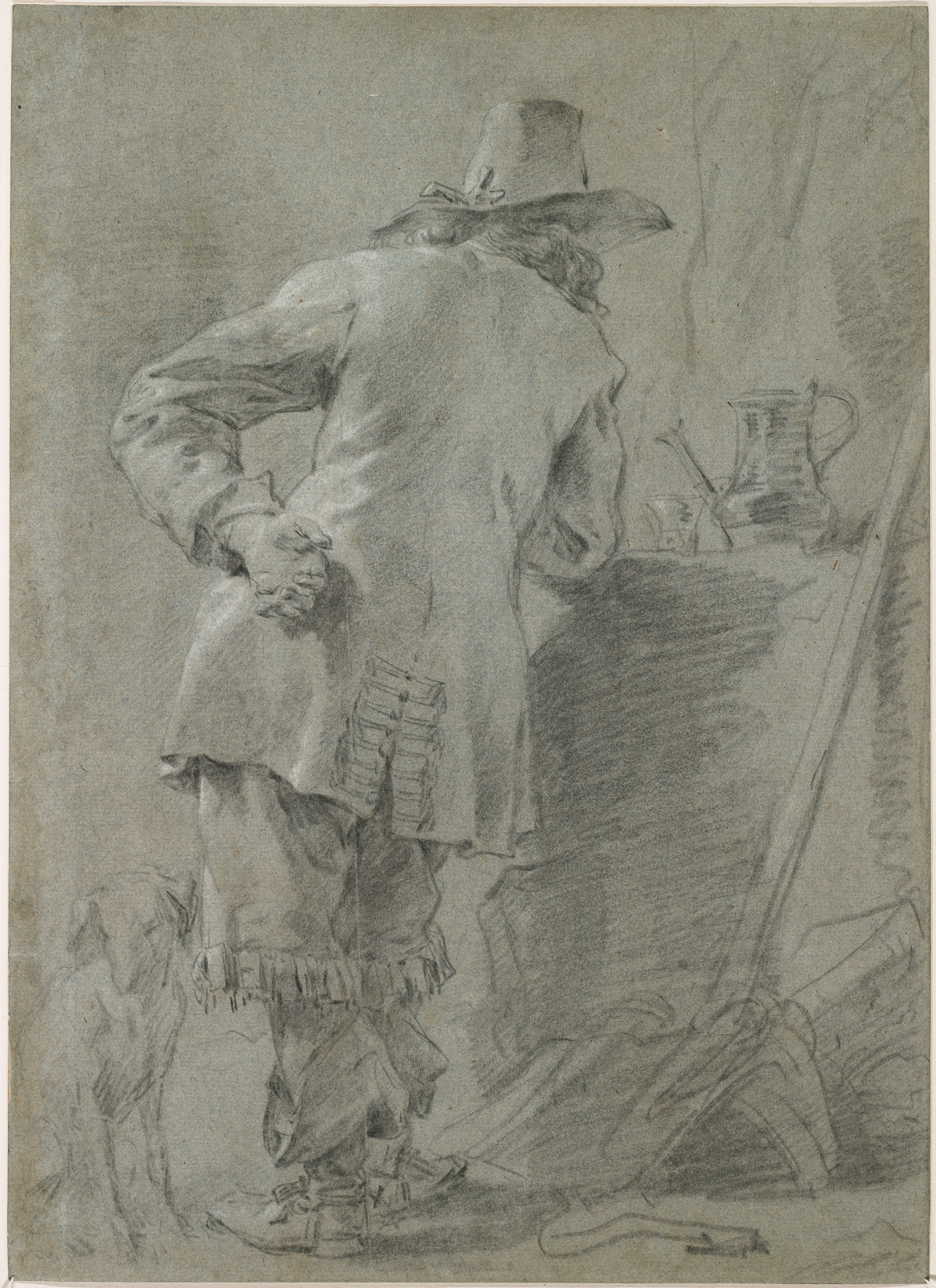 Nicolaes Berchem, A Standing Man Seen from Behind, c. 1660. Black and white chalk on blue paper. The Maida and George Abrams Collection, Boston, Massachusetts. Photo: © President and Fellows of Harvard College.