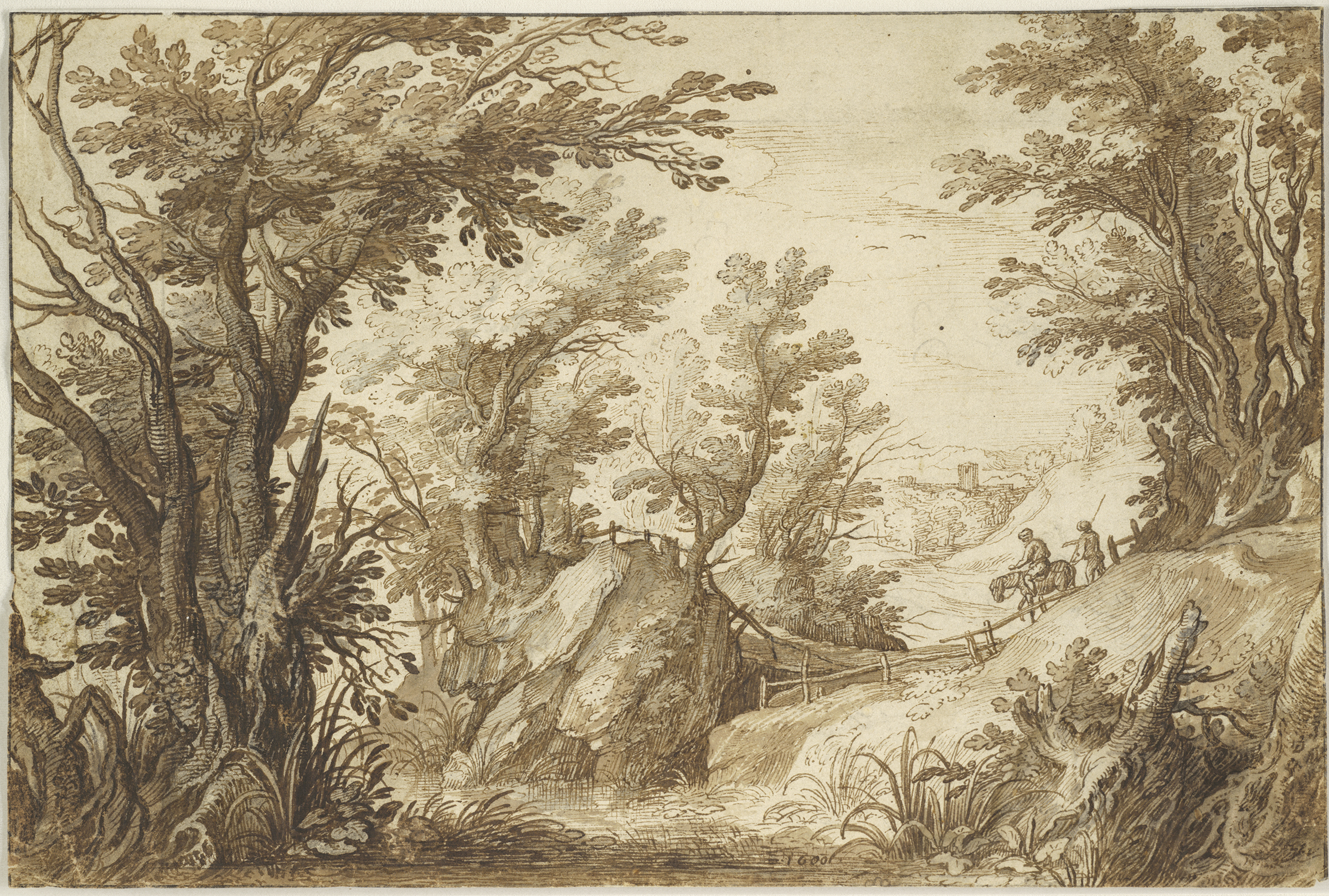 Paul Bril, Wooded Landscape with Travelers, 1600. Brown ink and brown and gray wash over black chalk. The Maida and George Abrams Collection, Boston, Massachusetts. Photo: © President and Fellows of Harvard College.