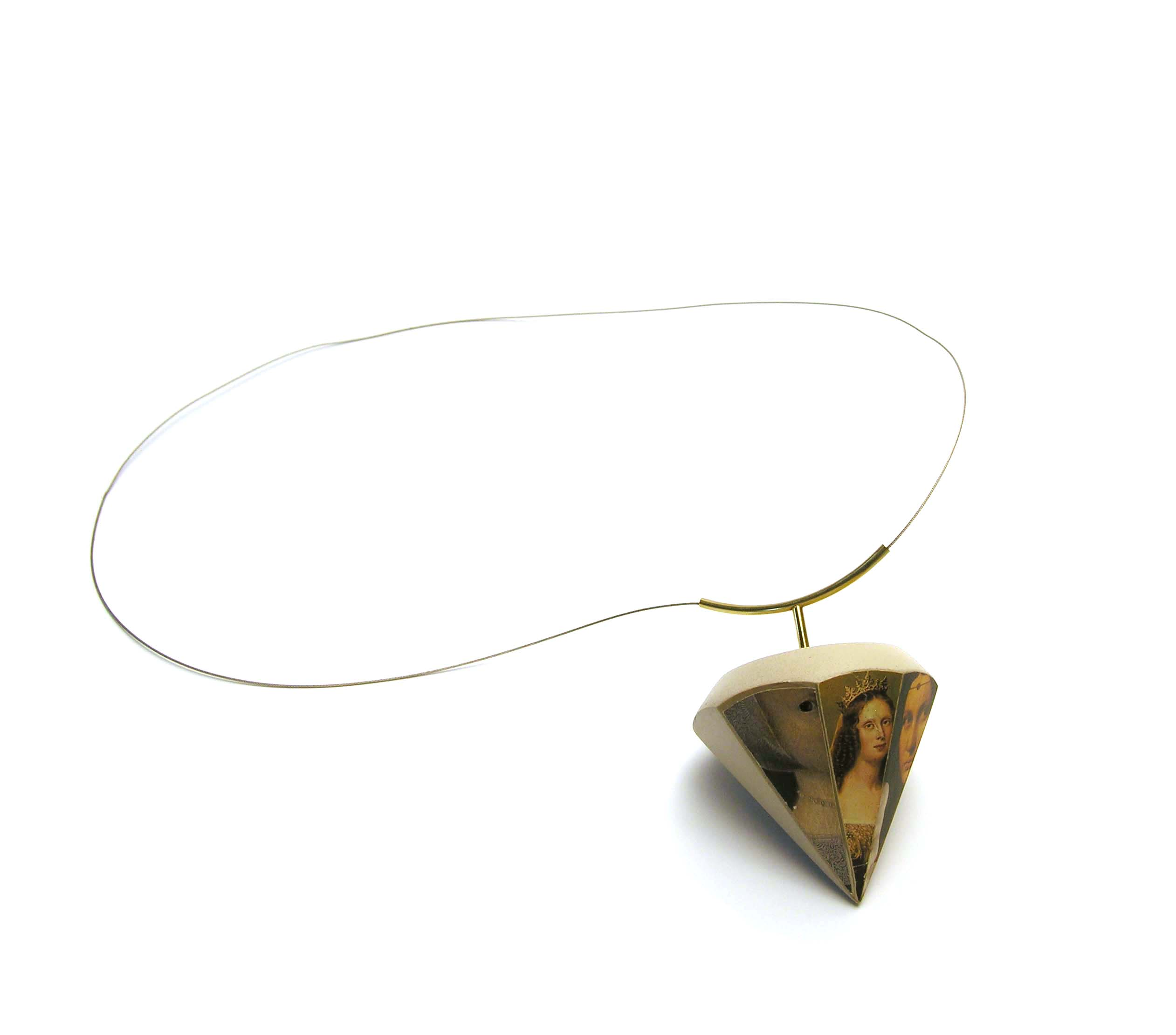 Inheritance Piece, 1990, necklace, photos, plastered foam, 18k gold, steel cable, 2.5 x 2.5 x 18 inches