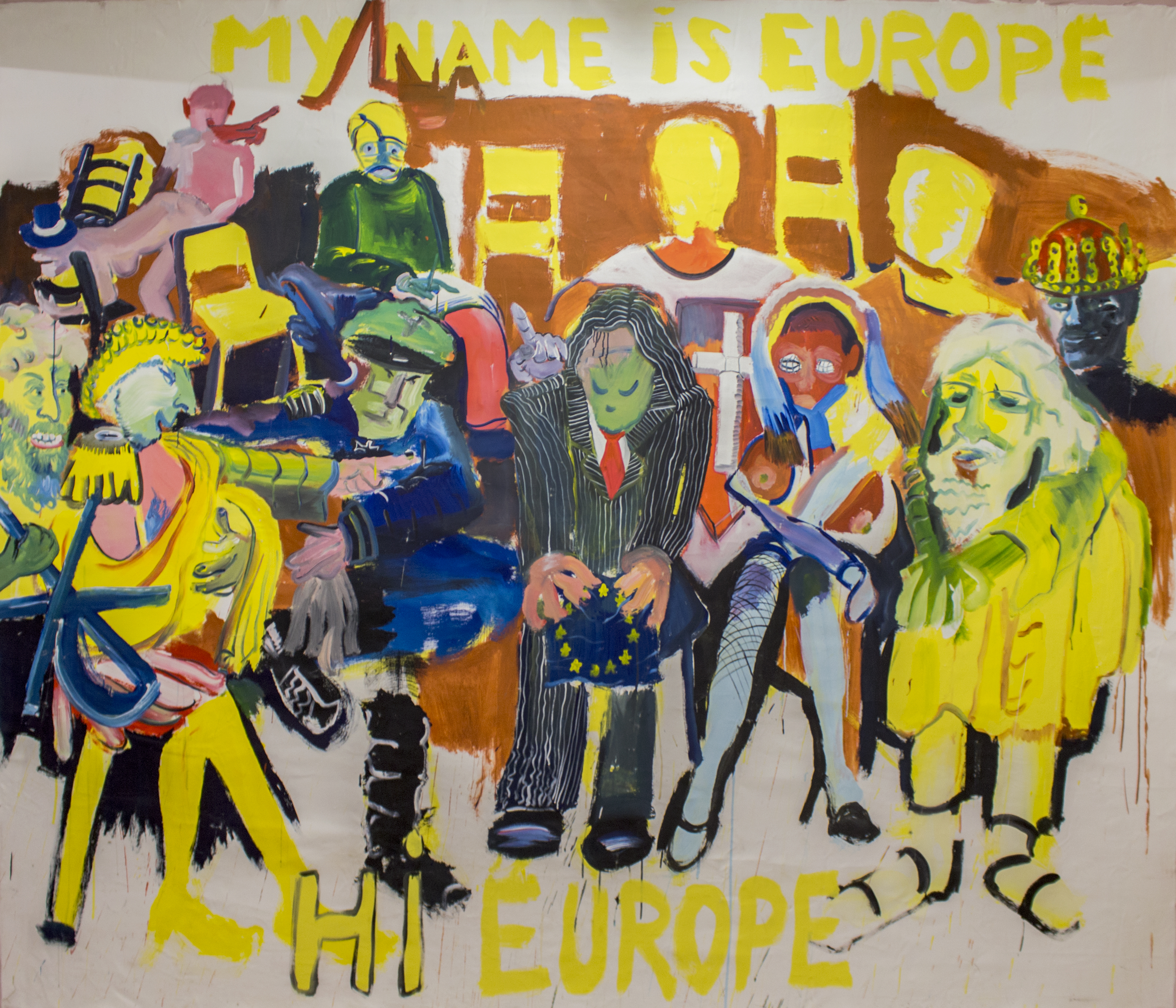 David Bade (Curaçao, b. 1970)  My Name Is Europe, Hi Europe/Mi nombre es Europa, hola Europa, 2014 Oil and acrylic on canvas/Óleo y acrílico sobre lienzo,  96 x 120 in. Courtesy of the artist/Cortesía del artista