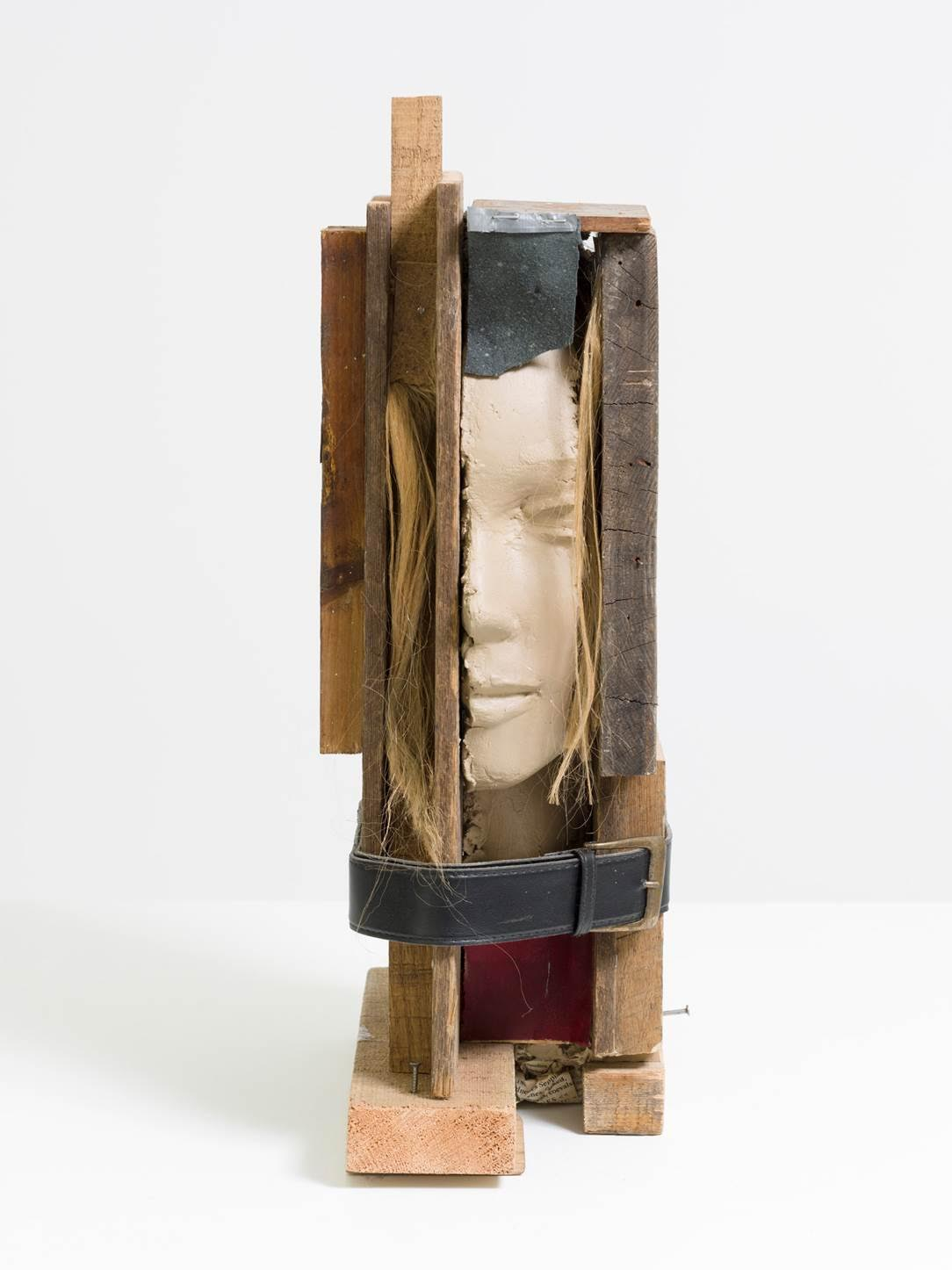 Girl Study, 2013. Wood, painted epoxy, painted wig, offset print on paper and belt. Courtesy of the artist and Tanya Bonakdar Gallery, New York.