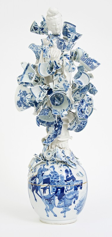 Bouke de Vries. Goddess of the Fragments, 2015, 18th and 19th century Chinese porcelain fragments and steel