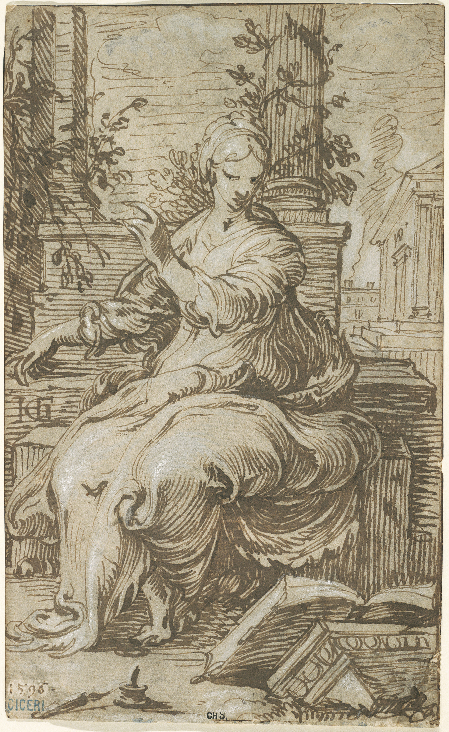Hendrick Goltzius, Seated Woman, 1596. Brown and black ink and white opaque watercolor. The Maida and George Abrams Collection, Boston, Massachusetts. Photo: © President and Fellows of Harvard College.