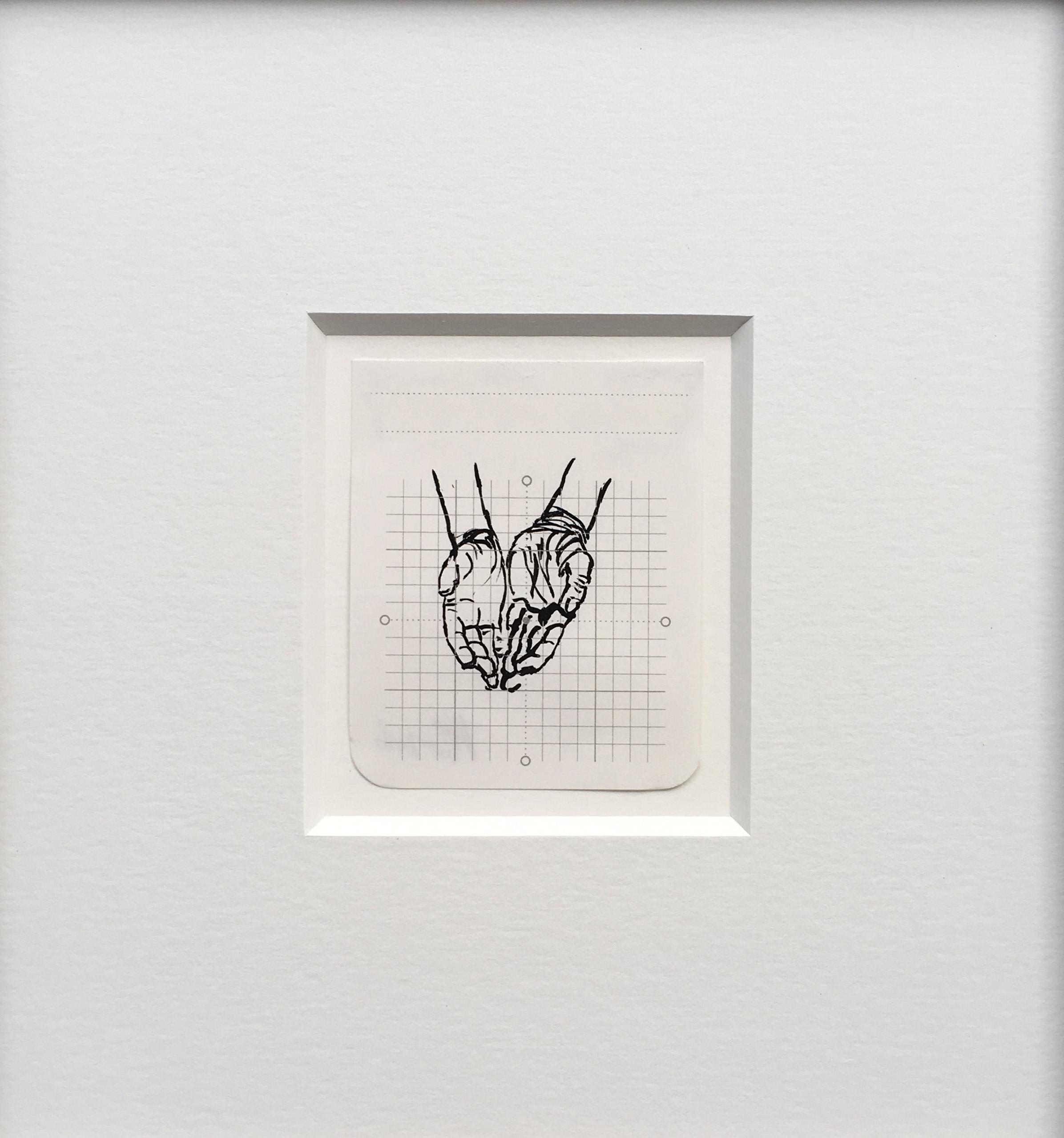 HANDS, 2016, polymer gouache on paper, 8 x 6.5 cm © Anita Groener glass, 23 x 21.5 cm(f)