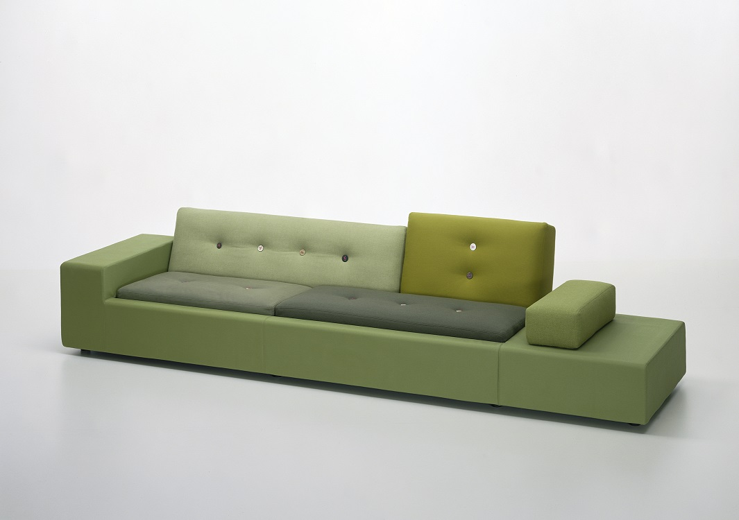 Hella Jongerius (manufactured by Vitra), Polder Sofa XL, 2005; Wood, polyurethane foam, polyester, and textile, 30 1/2 x 115 1/4 x 39 1/2 in.; Courtesy of Vitra