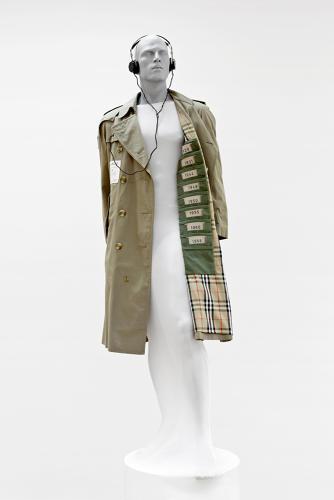 Melissa Coleman, Media Vintage, Charlie, 2009, Burberry coat, felt punch cards, electronics, vintage headphones, photo, David Joosten