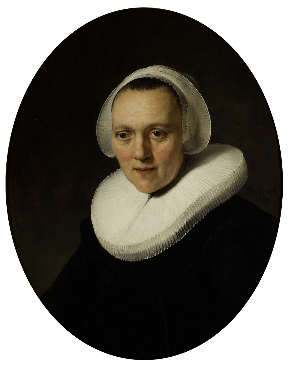 Rembrandt van Rijn | Dutch, 1606 – 1669 | Portrait of a Forty-Year-Old Woman, possibly Marretje Cornelisdr. Van Grotewal, 1634 | Oil on panel | Speed Museum | Purchased with funds contributed by individuals, corporations and the entire community of Louisville, as well as the Commonwealth of Kentucky Frame conservation funded by Edith and Jacob Horn, The Horn Foundation | 1977.16
