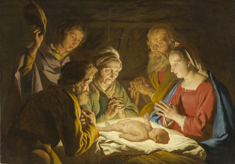 Matthias Stom [Stomer] | Dutch, 1600 – 1650 | The Adoration of the Shepherds, c. 1635 – 1637 | Oil on canvas | The North Carolina Museum of Art | Purchased with funds from the State of North Carolina | 52.9.59