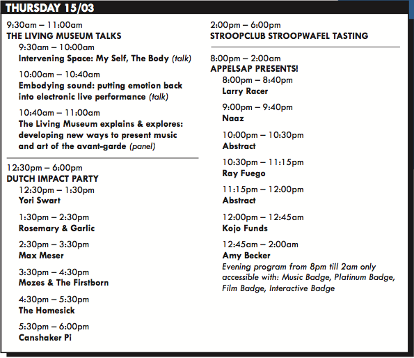 NDW Schedule Thursday