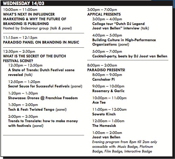 NDW Schedule Wednesday