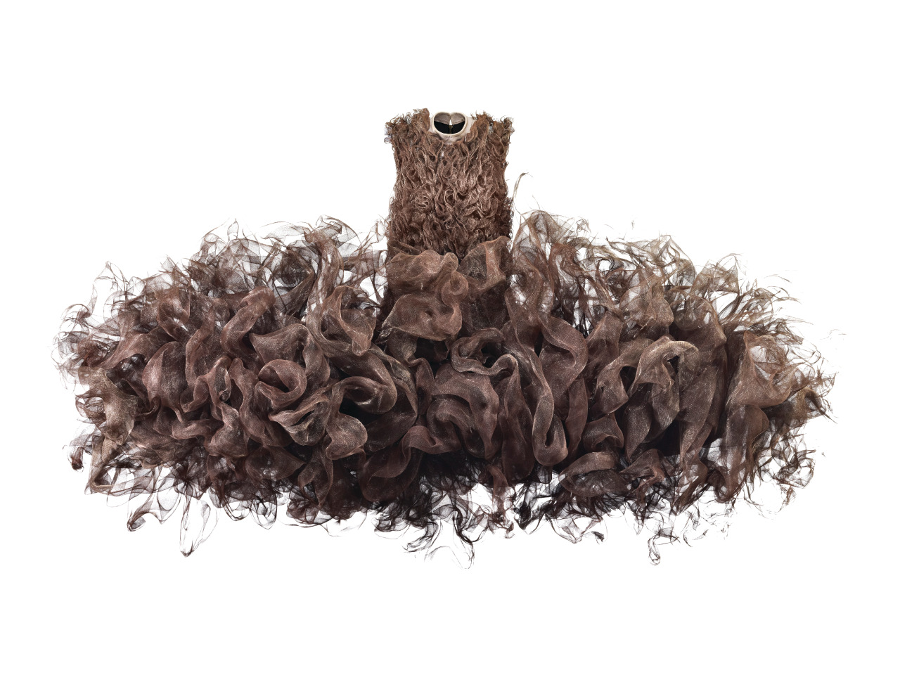 Iris van Herpen (b. 1984), The Netherlands, Refinery Smoke, Dress, July 2008, untreated woven metal gauze and cow leather, Groninger Museum, 2012.0196. Photo by Bart Oomes, No 6 Studios