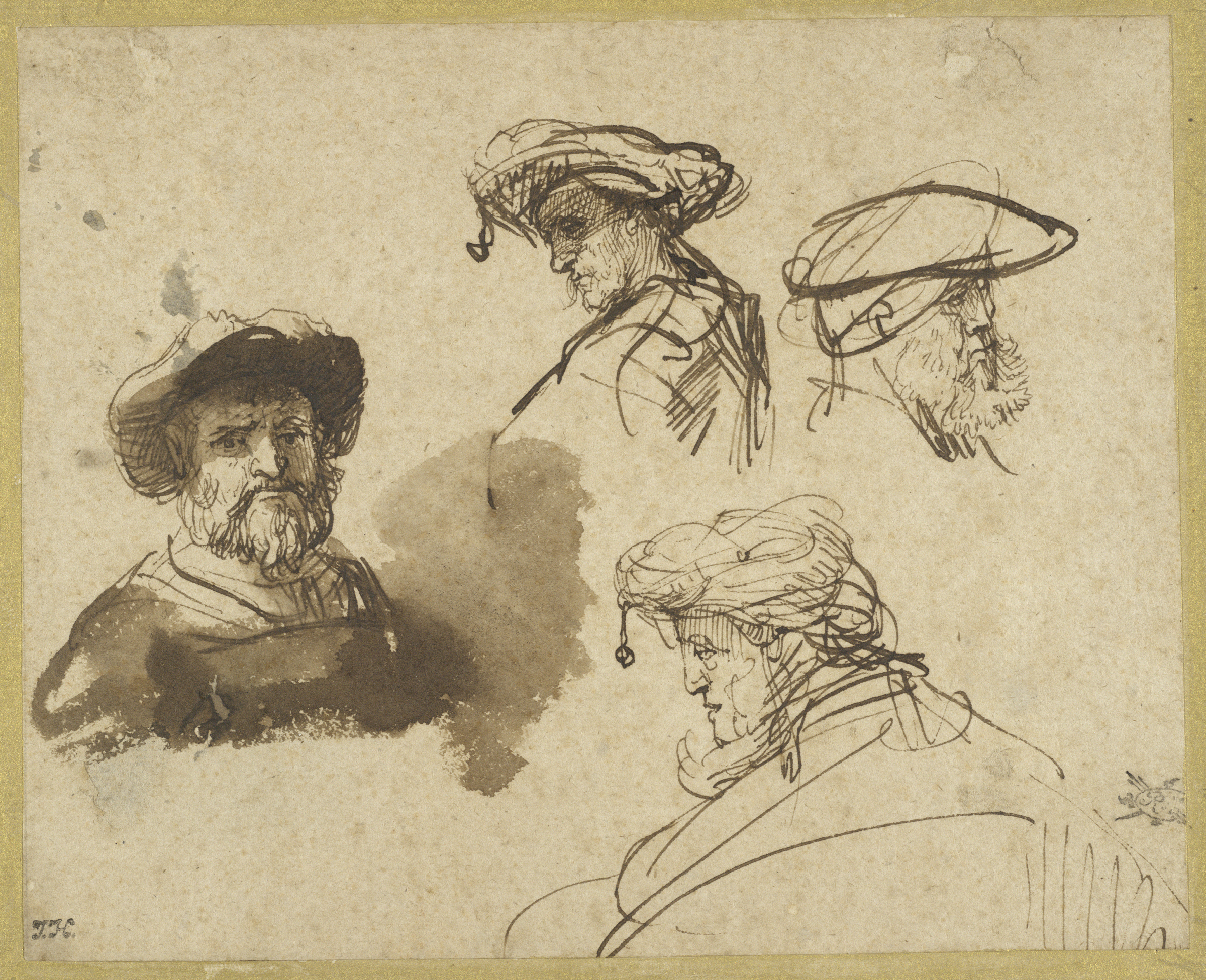 Rembrandt Harmensz. van Rijn, Four Studies of Male Heads, c. 1636. Brown ink and brown wash on cream antique laid paper. The Maida and George Abrams Collection, Boston, Massachusetts. Photo: © President and Fellows of Harvard College.