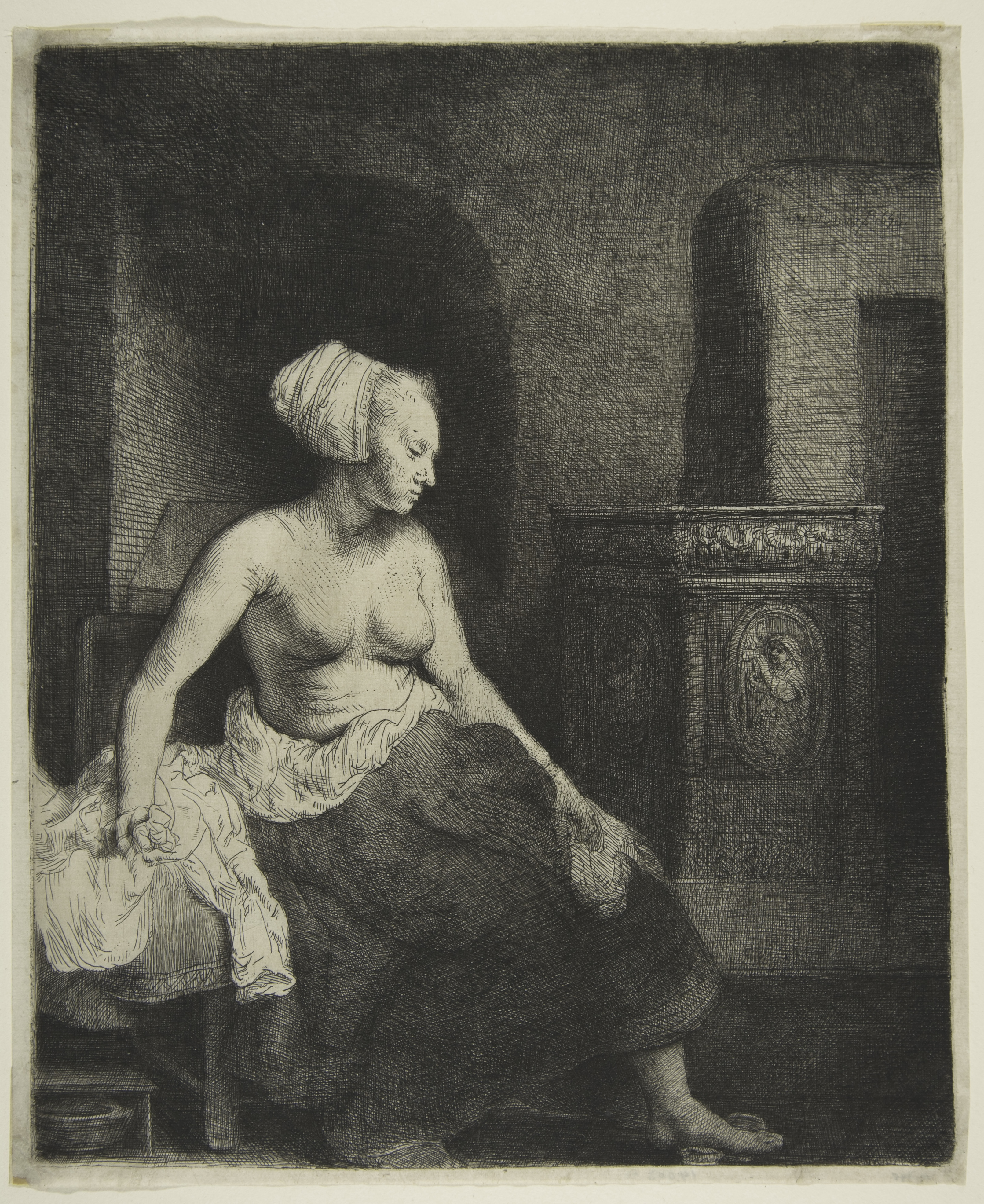 Rembrandt Harmensz van Rijn (1606-1669). Woman Sitting Half-Dressed Beside a Stove, 1658, State III of VII, on 'Chinese' paper. Etching, engraving, and drypoint, sheet: 23.4 x 19.3 cm, plate: 22.7 x 18.6 cm. Metropolitan Museum of Art, New York, NY, purchase, Rogers Fund, 1918 (18.70). Image copyright © The Metropolitan Museum of Art, courtesy Art Resource, NY