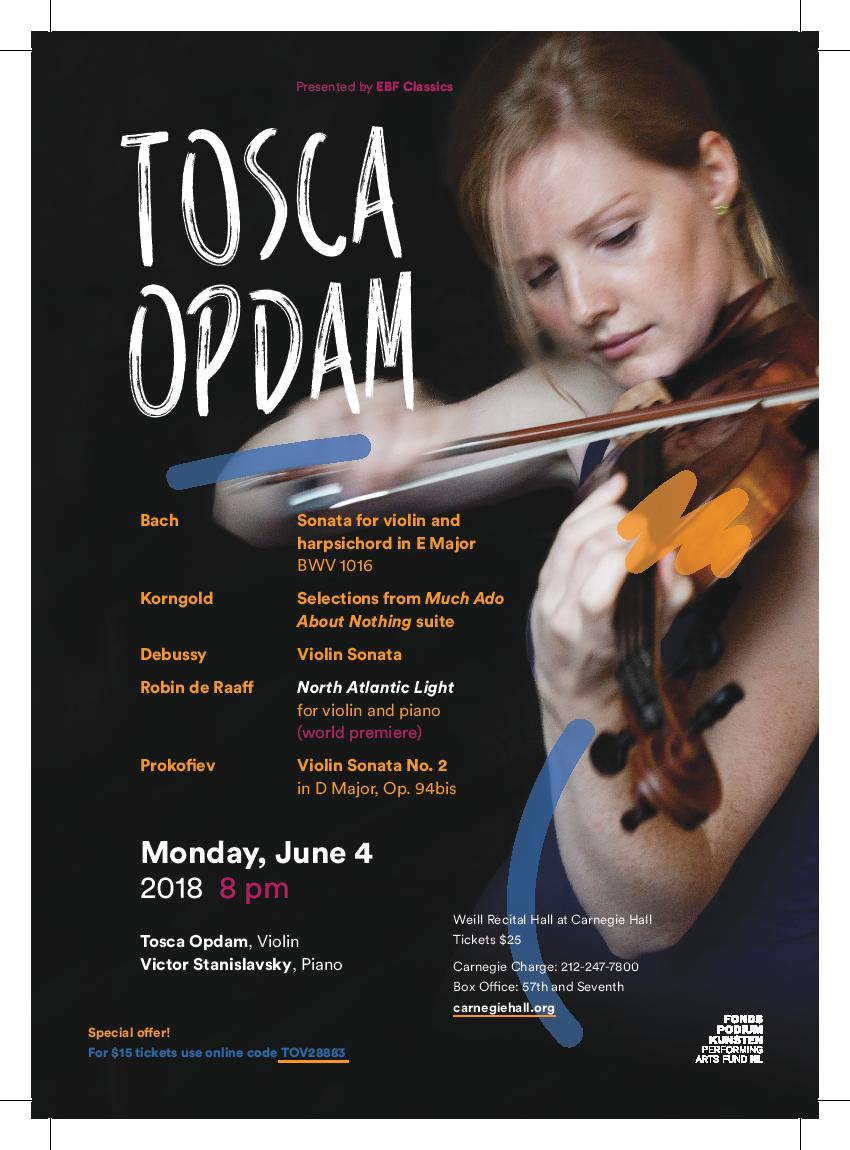 Tosca Opdam at Carnegie Hall, June 4th, 2018