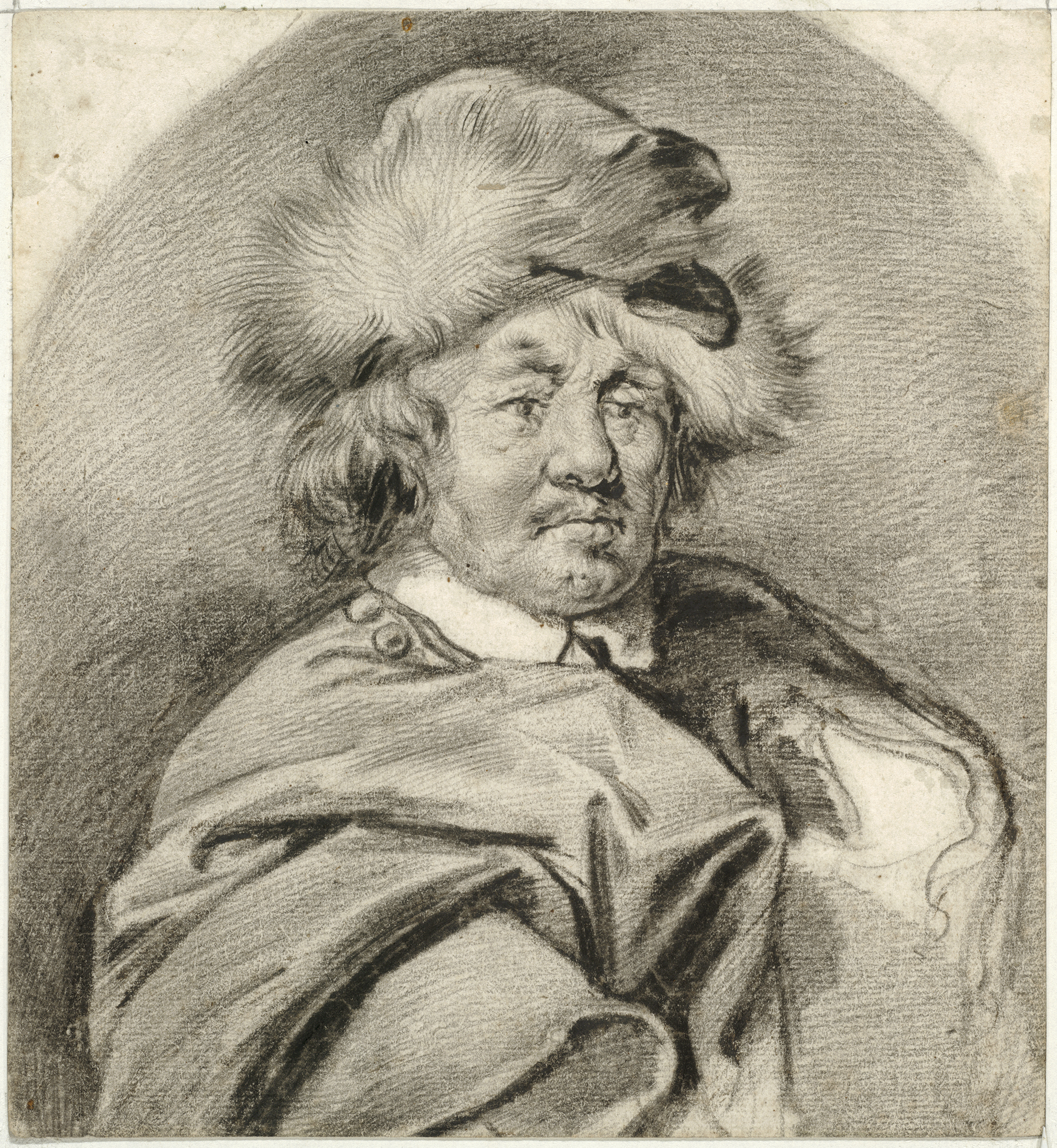 Cornelis Visscher, Man with a Cloak and a Polish Hat, 1650s. Black chalk and black chalk steeped in oil; incised lines at lower left. The Maida and George Abrams Collection, Boston, Massachusetts. Photo: © President and Fellows of Harvard College.