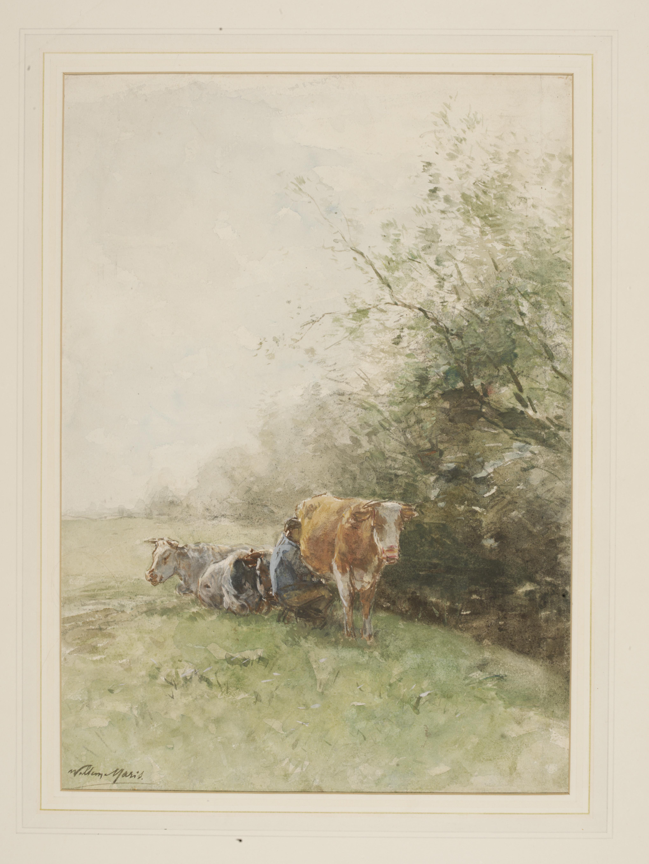 "Willem Maris (1844-1910), ""Milking tim,"" Late 19th century, Image © Victoria and Albert Museum."