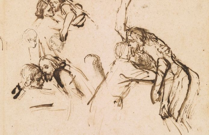 Rembrandt van Rijn (1606-1669), Three Studies for a Descent from the Cross, ca. 1654. Pen and brown ink. Thaw Collection, The Morgan Library & Museum. Photography by Steven H. Crossot.