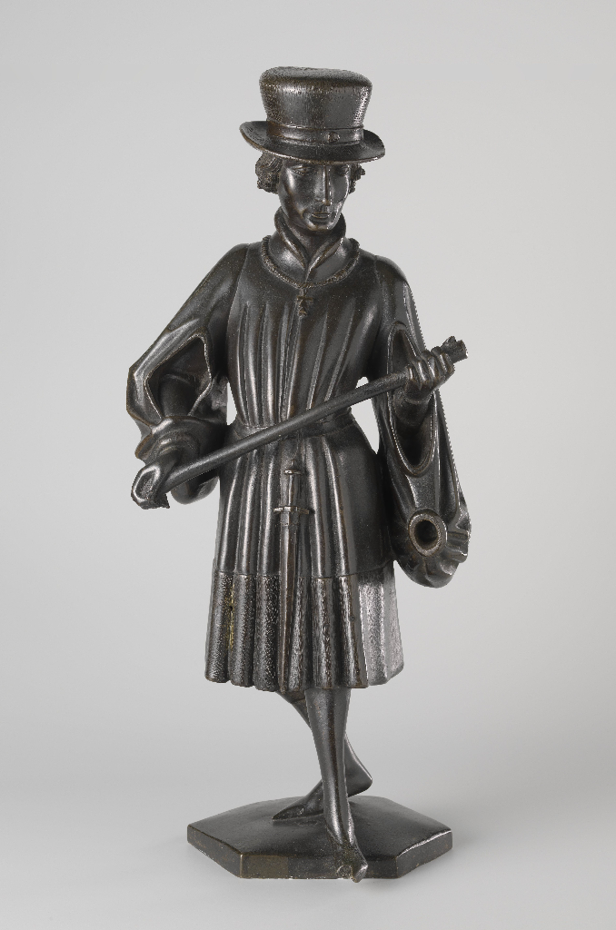 Mourner from the Tomb of Isabella of Bourbon, c. 1475–76. Attributed to Jan Borman the Younger (Netherlandish, active 1479–1520); casting attributed to Renier van Thienen (Flemish, active 1460–1541). Brass copper alloy; 56 cm x 24.5 cm x 13.5 cm. On loan from the City of Amsterdam, BK-AM-33-B