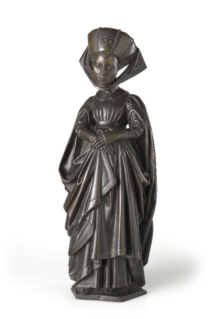Mourner from the Tomb of Isabella of Bourbon, c. 1475–76. Attributed to Jan Borman the Younger (Netherlandish, active 1479–1520); casting attributed to Renier van Thienen (Flemish, active 1460–1541). Brass copper alloy; 56 cm x 21 cm x 13.5 cm. On loan from the City of Amsterdam, BK-AM-33-F