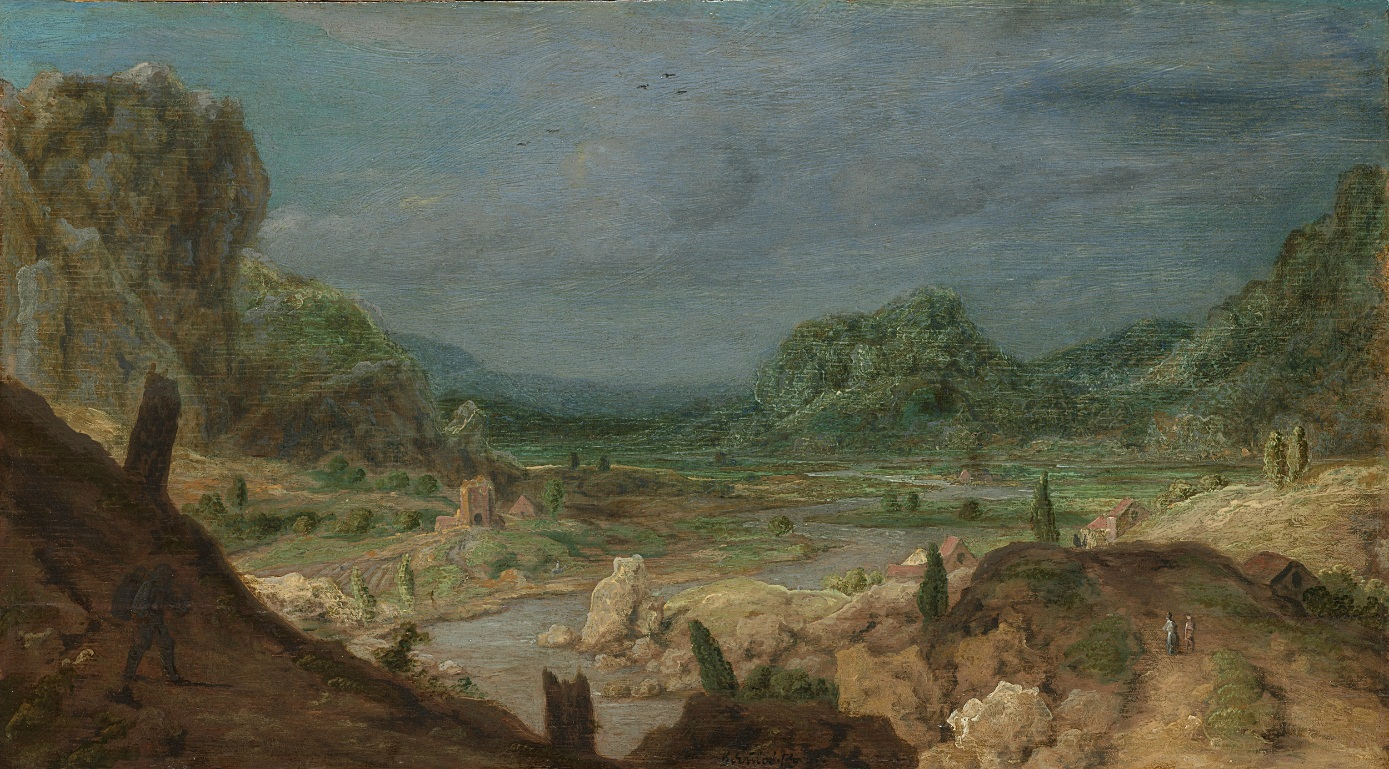 Hercules Segers, (Dutch, ca. 1590–ca. 1638). River Valley, ca. 1626-30. Oil on panel. Rijksmuseum, Amsterdam; Cornelis Hofstede de Groot Bequest, exchanged with the City of Groningen, 1931.