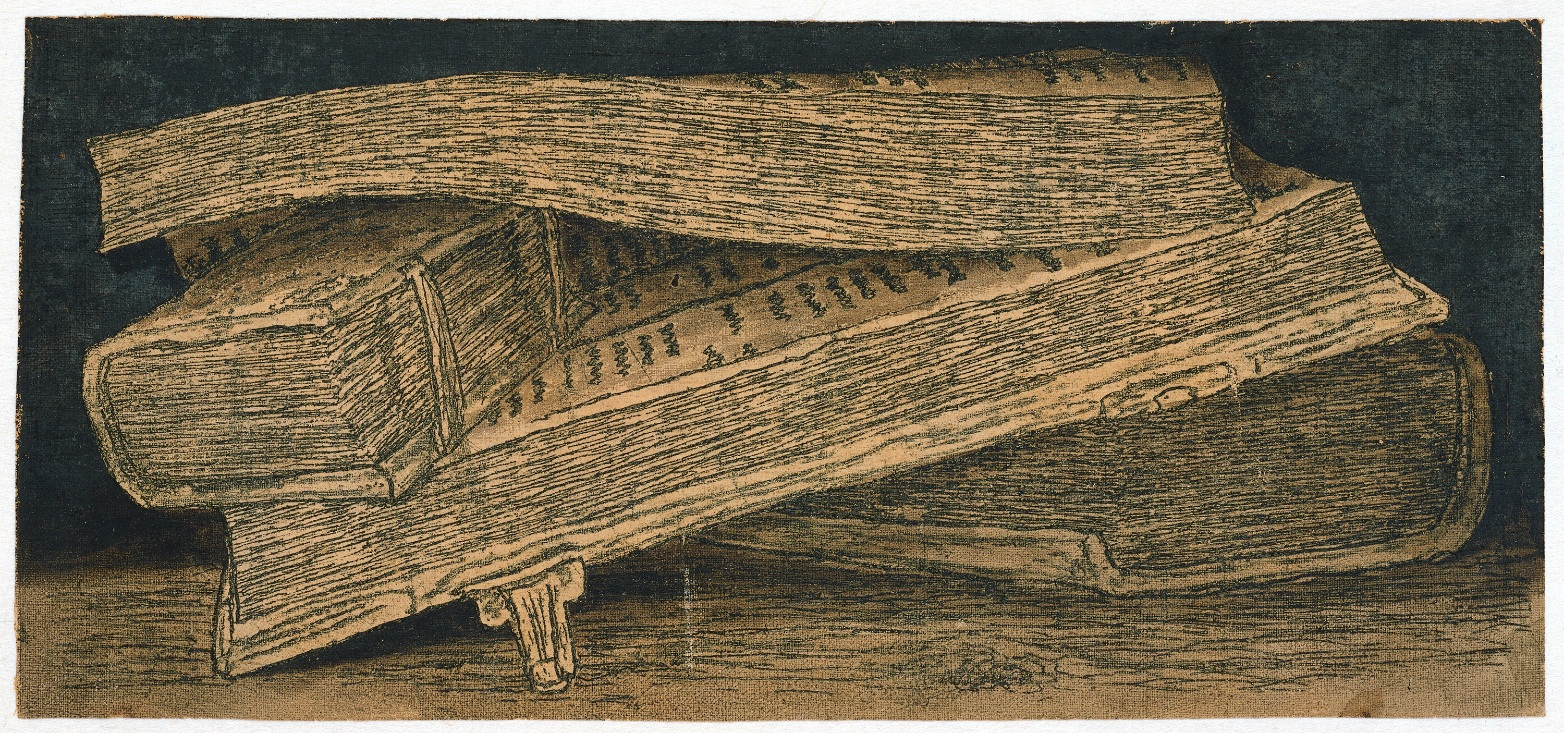 Hercules Segers, (Dutch, ca. 1590–ca. 1638). Still Life with Books, ca. 1618-22. Counterproof (?) of a line etching printed in blue-green printed on cotton with a cream tinted ground. Rijksmuseum, Amsterdam; on loan from the City of Amsterdam, collection Michiel Hinloopen (1619–1708), 1885.