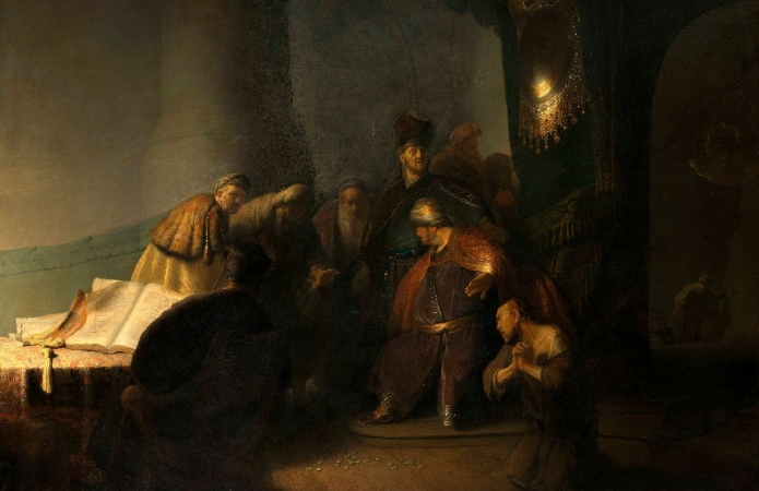 Rembrandt van Rijn (1606-1669), Judas Returning the Thirty Pieces of Silver, 1629. Oil on panel. Private collection. © Private Collection, Photography courtesy of The National Gallery, London, 2016