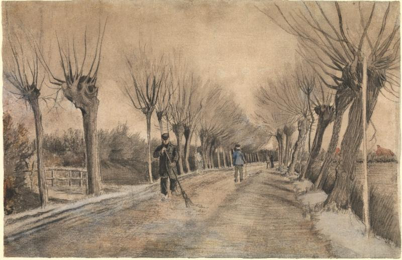 Vincent van Gogh. Dutch, Zundert 1853-1890 Auvers-sur-Oise. Road in Etten,1881. Chalk, pencil, pastel, watercolor. Underdrawing in pen and brown ink. 15 1/2 x 22 3/4 in. (39.4 x 57.8 cm). The Metropolitan  Museum of Art, Robert Lehman Collection, 1975